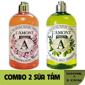 Combo 2 chai Sữa Tắm LAmont En Provence Hương Hoa Anh Đào và Hương Olive - ANH ĐÀO+OLIU