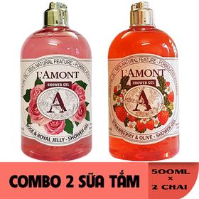 Combo 2 chai Sữa Tắm LAmont En Provence Hương Hoa Hồng và Hương Dâu Tây 500ML-Chai - HOA HỒNG+DÂU TÂY