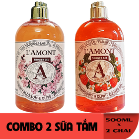 Combo 2 chai Sữa Tắm LAmont En Provence Hương Hoa Anh Đào và Hương Dâu Tây 500ml-chai - ANH ĐÀO+ DÂU TÂY