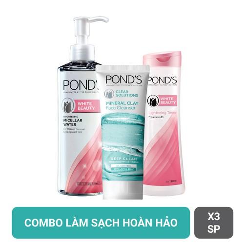 Combo pond s sửa rửa mặt đất sét kiềm dầu 90g tẩy trang micellar trắng da 235ml nước hoa hồng toner 150ml - 17050457 , 22442307 , 15_22442307 , 173000 , Combo-pond-s-sua-rua-mat-dat-set-kiem-dau-90g-tay-trang-micellar-trang-da-235ml-nuoc-hoa-hong-toner-150ml-15_22442307 , sendo.vn , Combo pond s sửa rửa mặt đất sét kiềm dầu 90g tẩy trang micellar trắng da