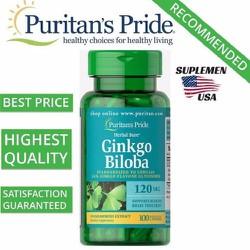Bổ não tăng trí nhớ Ginkgo Biloba từ Bạch quả 120 mg loại 100 viên của Puritan Pride Hoa Kỳ