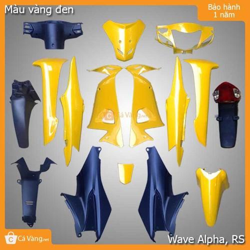 Vỏ nhựa xe máy wave alpha, rs nhựa trắng cao cấp như zin màu vàng đen loại 1