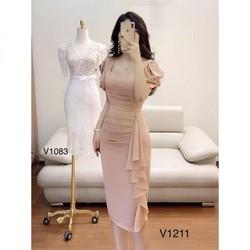 Đầm ôm - Đầm Ôm Tay Bồng Kate Nhật Sang Trọng V1211 - THIẾT KẾ  kèm ảnh thật trải sàn do shop tự chụp