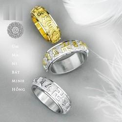 Nhẫn titan phụ kiện thời trang không thể thiếu khắc thần chú Úm Ma Ni Bát Minh Hồng