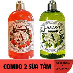 Combo 2 chai Sữa Tắm LAmont En Provence Hương Dâu Tây và Hương Oliu 500ml-chai - DÂU TÂY + OLIVE