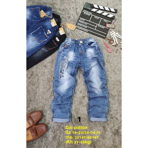 Quần jean dài bé trai jean cotton mềm nhẹ lưng thun dễ mặc 3 màu