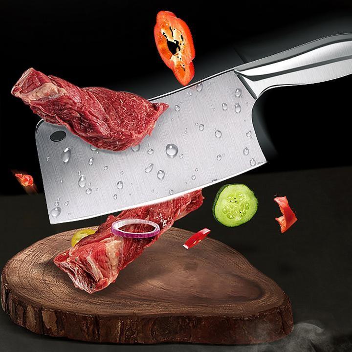 Hình ảnh GIẢM GIÁ- Bộ dao chặt xương, dao thái thịt, dao gọt hoa quả, kéo cắt, mài dao bằng inox cao cấp 304 kèm dụng cụ để dao Nhật Bản, Bo dao chat xuong