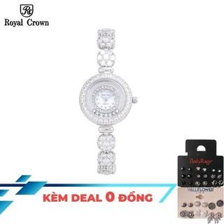 Đồng hồ nữ chính hãng Royal Crown 5308 dây đá + tặng kèm hoa tai hoặc cài tóc - 5308-J thumbnail