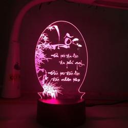Đèn ngủ, đèn trang trí Led 3D, đèn thư pháp 7 màu, chữ Lộc