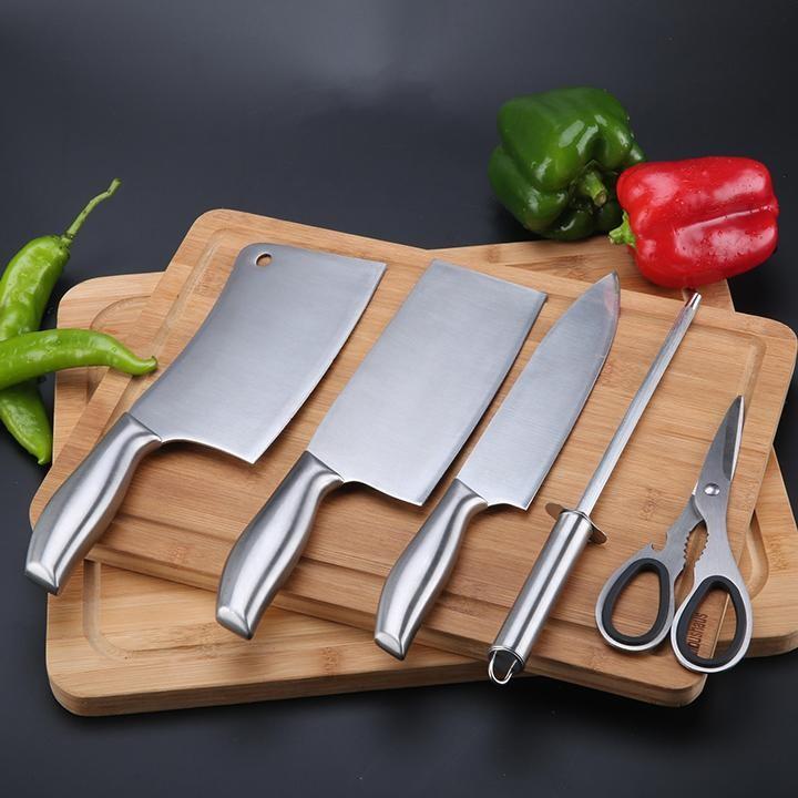 GIẢM GIÁ- Bộ dao chặt xương, dao thái thịt, dao gọt hoa quả, kéo cắt, mài dao bằng inox cao cấp 304 kèm dụng cụ để dao Nhật Bản, Bo dao chat xuong