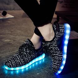 Giày phát sáng màu đen sần phát sáng 7 màu 11 chế độ đèn led phong cách Hàn Quốc ảnh thật video thật