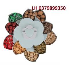 Khay đựng bánh mứt kẹo 2 tầng 10 bông | Khay đựng bánh kẹo | Khay đựng bánh mứt | Khay mứt xoay 2 tầng tiện dụng