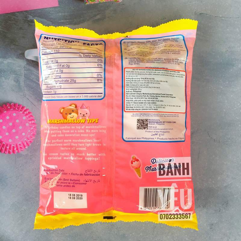 Kẹo xốp MARSHMALLOW hương Dâu 250g -hình trái tim – BK07