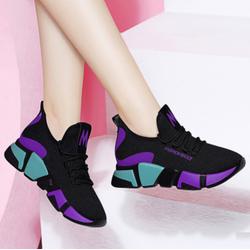 Giày thể thao nữ đẹp FASHION SPORT chữ thêu nổi M SPORT đen phối tím xanh