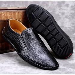 Giày lười da bò nguyên tấm , được dập vân cá sấu thời trang ,đế cao su khâu chắc chắn .Được kiểm tra hàng.