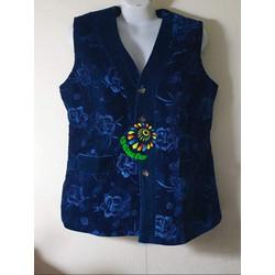 Áo gile nhung in hoa sang trọng màu xanh