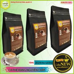 1,5KG Cà Phê Nguyên Chất ROBUSTA1 - 3Gói 500gr Rang Mộc - TẶNG Đế Lót Ly - Dạng Xay Pha Phin - Mạnh Nhất - Đắng Nhất - Thuần Gu Việt - Coffee New