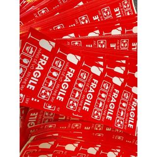 100 Tem dán cảnh báo hàng dễ vỡ loại lớn 10x5cm, decal dán hàng dễ vỡ xin nhẹ tay - 100tem thumbnail