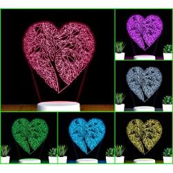 Đèn Led 7 Màu Hình TRÁI TIM họa tiết – Qùa Tặng, Đèn Trang Trí, Đèn Để Bàn, Đèn Phòng Ngủ, Thiết Kế Cắt Khắc Theo Yêu Cầu