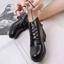 Giày Boot Nữ Da Cao Cấp Đế 5p Buộc Dây BT2