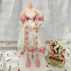 Đầm búp bê công chúa hoa hồng cho dòng 36cm