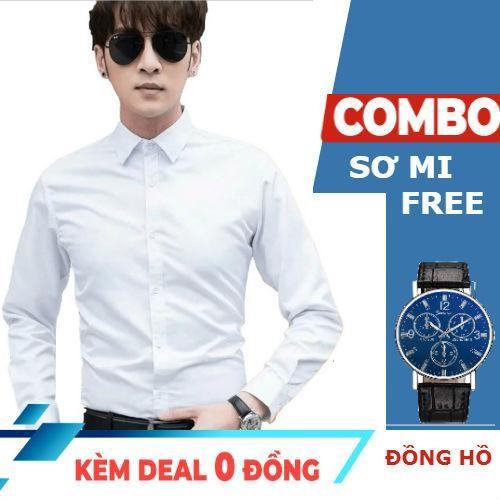 [Miễn ship 99k] [được xem hàng- loại đẹp- không nhăn] mua áo sơ mi tặng đồng hồ đeo tay chính hãng