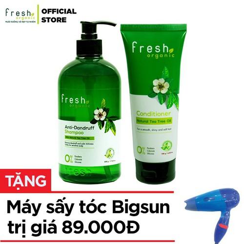 [Quà đỉnh 0đ] - combo dầu gội 500g & xả 180g trị gàu fresh organic tea tree chính hãng tặng máy sấy tóc bigsun - 20638186 , 23574693 , 15_23574693 , 248000 , Qua-dinh-0d-combo-dau-goi-500g-xa-180g-tri-gau-fresh-organic-tea-tree-chinh-hang-tang-may-say-toc-bigsun-15_23574693 , sendo.vn , [Quà đỉnh 0đ] - combo dầu gội 500g & xả 180g trị gàu fresh organic tea tree