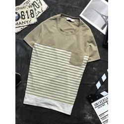 Áo thun nam ngắn tay sọc có túi tước ngực cotton 4 chiều