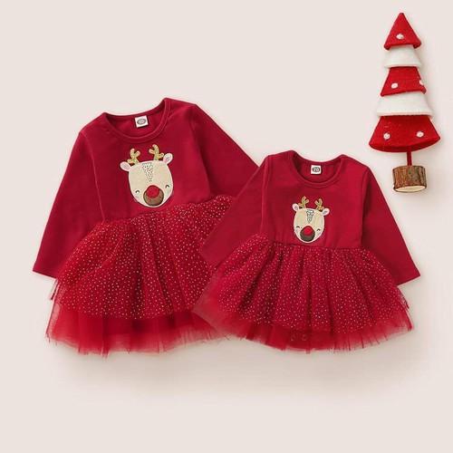 Đầm xòe bé gái tuần lộc-đầm đỏ trung hoa diện tết noel-hỗ trợ vận chuyển 30k
