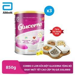 Combo 3 lon sữa bột Glucerna 850g tặng bộ khay mứt tết cao cấp trị giá 350,000đ