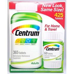 Vitamin tổng hợp Centrum Adults bộ 425 viên từ Mỹ cho người lớn cặp 365 và 60 viên