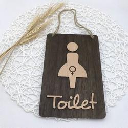 Biển gỗ trang trí TOILET NỮ