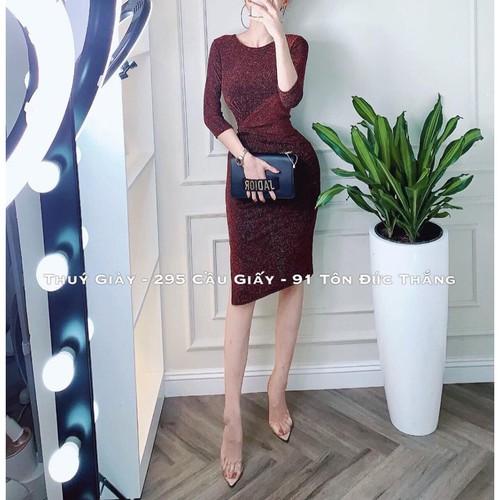 Váy nữ công sở 💖freeship💖 đầm nữ nhũ với thiết kế xoắn eo tôn dáng thời trang hàn quốc