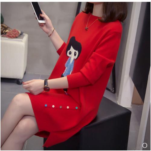 Đầm len hoạt hình thời trang phong cách quảng châu