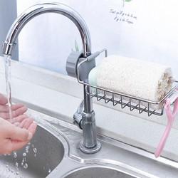 Giá gắn đồ rửa bát gắn trên vòi chậu bằng inox không rỉ