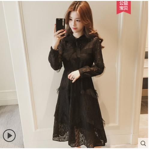 Đầm ren nữ cổ thắt nơ thu đông  phong cách hàn