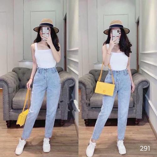 Quần baggy 💖freeship💖 quần jean baggy cạp chun nữ hàng quảng châu cao cấp chất đẹp