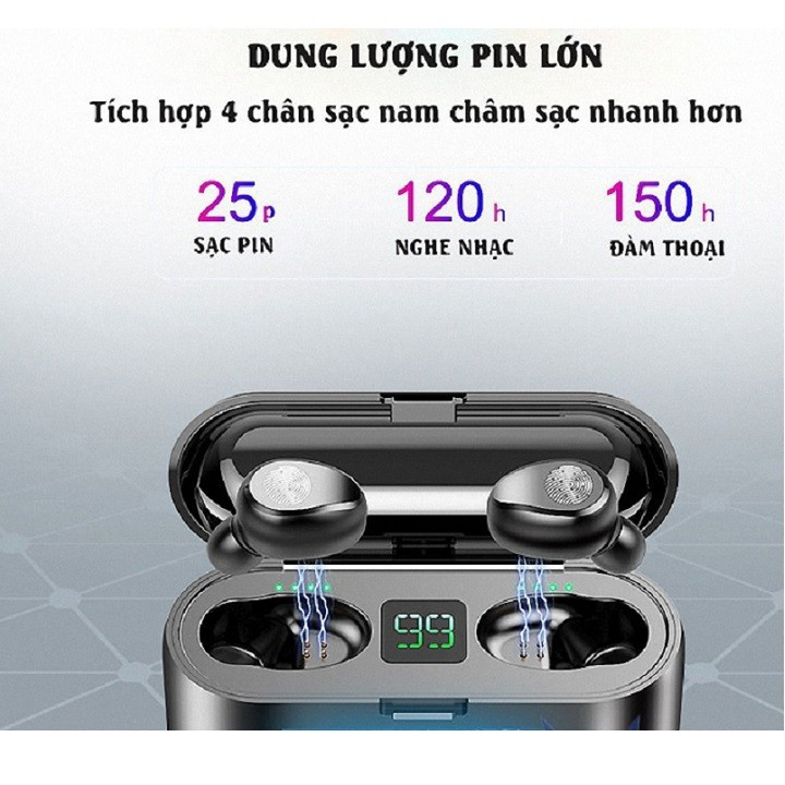 Tai nghe Bluetooth AMOi 5.0 cảm ứng 2000mAh - Home and Garden - 7