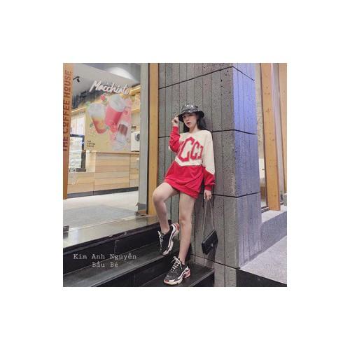 Áo thun nữ 💖freeship💖 áo nỉ phối đỏ be cực kì đẹp thời trang nữ hàn quốc phom dáng trẻ trung năng động