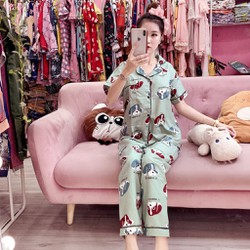 Bộ Pijama kate mặc nhà Tay ngắn quần dài