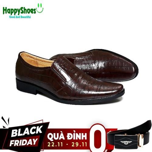 Giày tây nam da bò thật  vân cá sấu happyshoes hs22 - tặng 1 thắt lưng tl01