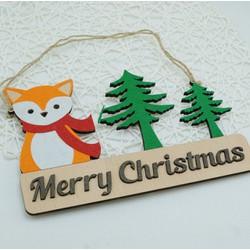 Biển gỗ trang trí MERRY CHRISTMAS cáo xinh