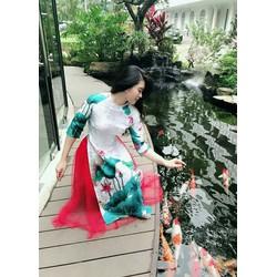 Áo dài nữ cách tân M, L, XL, 2XL, 3XL gấm hoa sen đính hạt ngọc trai  40-'75kg thiết kế
