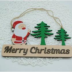Biển gỗ trang trí MERRY CHRISTMAS ông Noel 001