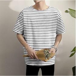 Áo Thun Tay Lỡ Sọc ngang basic size M L XL chất liệu cotton The Ngầu style