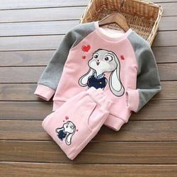 Bộ quần áo thỏ tim dễ thương cho bé từ 1-7 tuổi, hàng đẹp dầy dặn