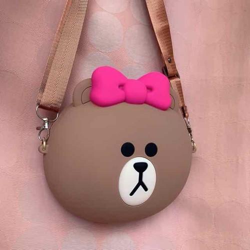 Túi gấu brown nơ hồng đeo chéo