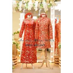 ÁO dài cưới màu đỏ - áo dài cưới Gấm
