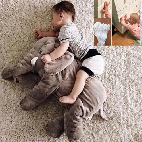 [Quà đỉnh 0đ ] voi ôm nhồi bông cho bé - tặng 2 dây đai khóa tủ lạnh, ngăn kéo cho bé.