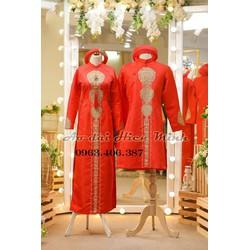 Áo dài cưới truyền thống, áo dài cưới cặp đôi màu đỏ